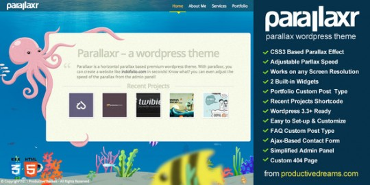WorPress主题 Parallaxr-Single-Page-Parallax-Wordpress-Theme