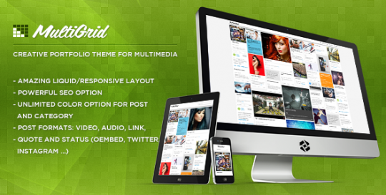 瀑布流WordPress中文主题 MultiGrid WordPress