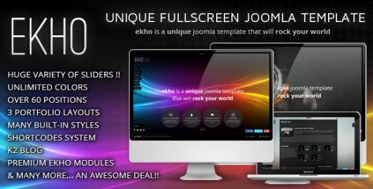 全屏独特创意 Joomla 模板 EKHO Joomla 2.5模板 EKHO-Unique-Joomla-Template