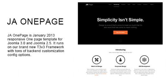 单页 Joomla模板 JA OnePage Joomla  JA-OnePage