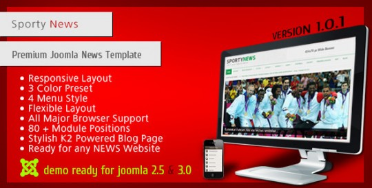 SportyNews Joomla 体育新闻门户 Joomla模板 SportyNews-Premium-Joomla-News-Template